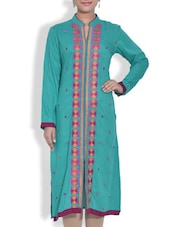 Embroidered Turquoise Rayon Long Kurta - By