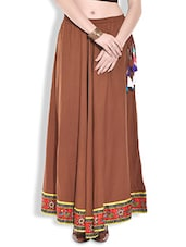 Brown Flared Maxi Skirt With Printed Hem - By