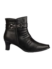 Solid Black Faux Leather Boots - By - 9611147