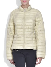 Solid Cream Full Sleeved Quilted Jacket - By