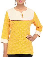 Yellow Printed Cotton Short Kurti - By