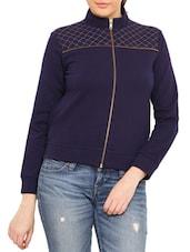 Navy Zippered Cotton Poly Fleece Sweatshirt - By