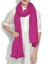 Solid Magenta Cotton Dupatta - By
