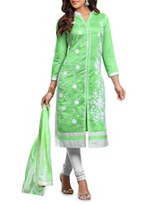 Light Green N White Embroidered Unstitched Suit Set - By