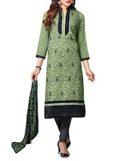Green N Black Embroidered Unstitched Suit Set - By