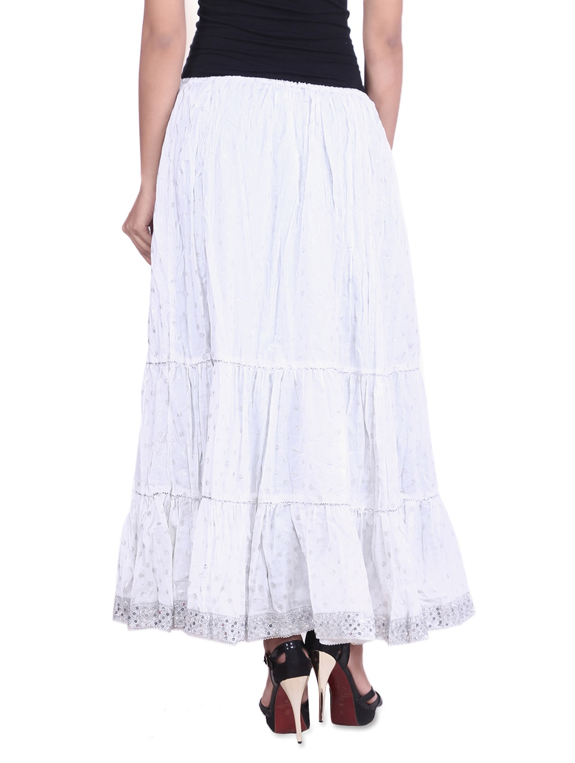 e6f54a0f5d ... white cotton printed n sequined gathered skirt - 9617187 - Zoom Image -  3