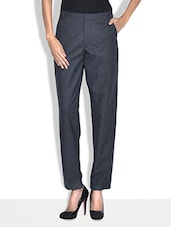 Dark Grey Poly Cotton Straight Fit Formal Trousers - By