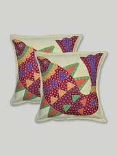Beige Patch Worked  Cotton Cushion Cover Set - By - 9620633