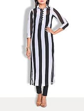 White And Black Striped Pure Georgette Long Shirt Kurta - By