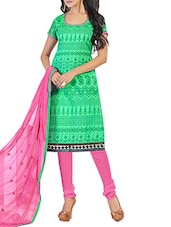 Green And Pink Chanderi Unstitched Suit Set - By