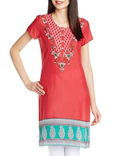 Red Short-sleeved Cotton Kurta - By