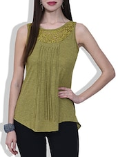 Solid Green Knitted Polyviscose Laced Sleeveless Top - By