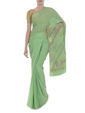 Fern Green Banarasi Pure Chiffon Saree - By