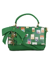 Green Faux Leather Printed Hand Held Bag - By