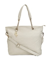 White Faux Leather Printed Shoulder Bag - By