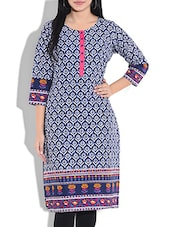 Blue Cotton Printed Three Quarter Sleeves Straight Kurti - By