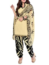 Beige And Black Printed Unstitched Suit Set - By