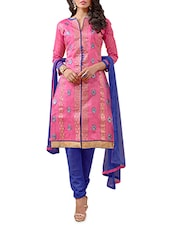 Pink And Blue Embroidered Unstitched Suit Set - By