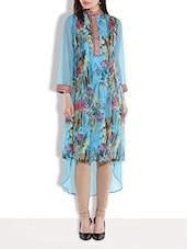 Blue Floral Printed High Low Kurti - By