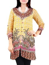 Yellow Floral Printed Linen Kurta - By