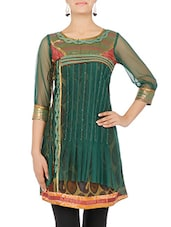 Green And Brown Paisley Printed Net Kurti - By