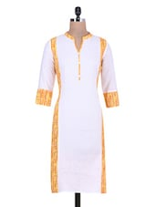 White And Yellow Printed Pin Tuck Cotton Kurta - By