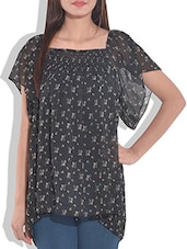 Black Printed Gathered Top - By