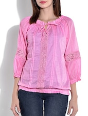 Pink Gathered Neck Cut Worked Cotton Top - By