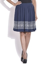 Navy Blue Printed Flared Cotton Skirt - By