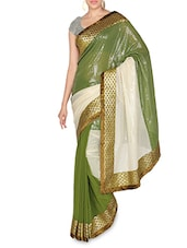 Olive And White Sequined Georgette Saree - By