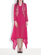 Pink Poly Georgette Plain Kurta - By