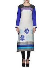 Cream Floral N Striped Embroidered Cotton Kurta - By - 9649334