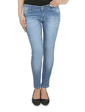 Blue Stonewashed Cotton Denim Jeans - By