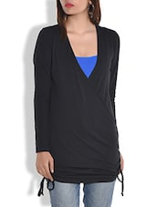 Black Crossover Cotton Jersey Top - By