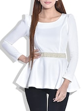 Solid White Full Sleeved Peplum Top - By