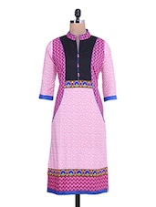 Pink Printed Quarter Sleeved Cotton Kurti - By
