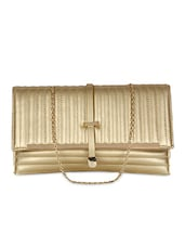 Gold Leatherette Textured Clutch - By