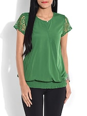 Solid Green Top With Lace Yoke - By