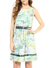 Multicoloured Floral Print Sleeveless Dress - By