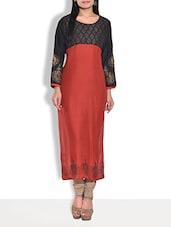 Red Printed Full Sleeved Rayon Long Kurta - By