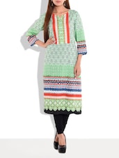 Green Multi Printed Quarter Sleeved Cotton Kurta - By