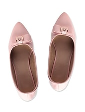 Baby Pink Leatherette Bow Ballerinas - By