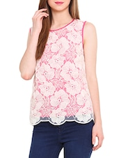 White And Pink Lace Sleeveless Top - By