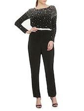 Black Crepe Embellished Jumpsuit - By