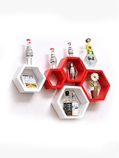 Set Of 6 Red And White Hexagon Mounted Shelves - By
