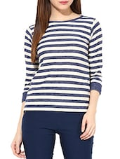 White And Blue Cotton Jersey Striped Top - By