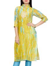Green Printed And Floral Embroidered Chanderi Kurta - By