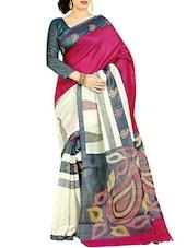 Cream And Magenta Printed Silk Saree - By