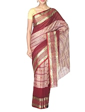 Maroon Cotton Tant Saree - By - 9667697