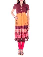 Multicoloured Cotton Anarkali Kurti - By